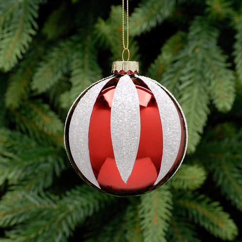 Candy Cane Design Glass Ball at The Sussex Christmas Barn