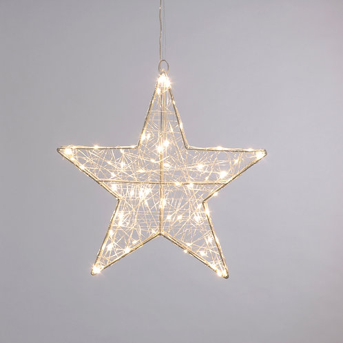 Large Twinkling Dewdrop Star Lights - Warm White