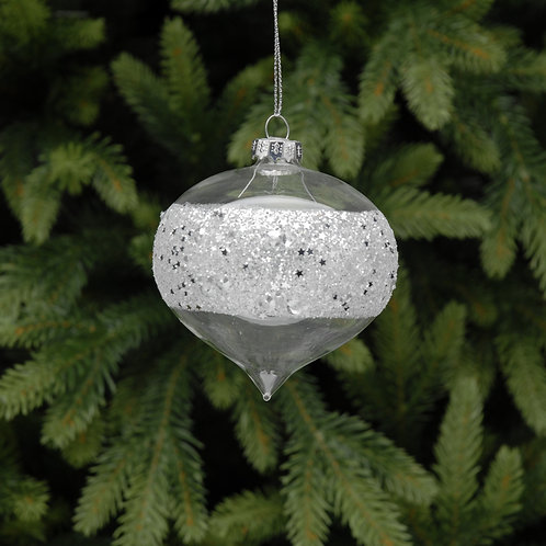clear glass onion with silver glitter band at Sussex Christmas Barn