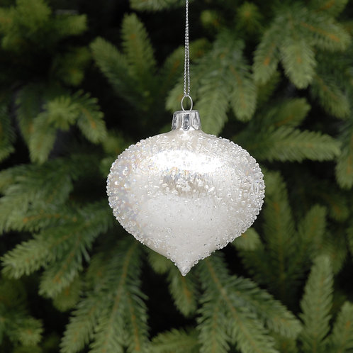 ice glass olive - white at Sussex Christmas Barn