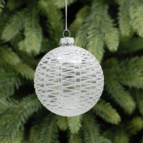 Clear Glass Ball with Silver Decoration at The Sussex Christmas Barn