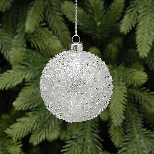 Silver Glitter Glass Ball at The Sussex Christmas Barn