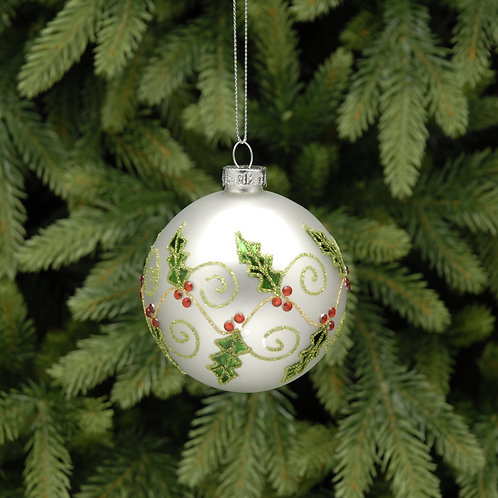 white ball with holly design at the Sussex Christmas Barn