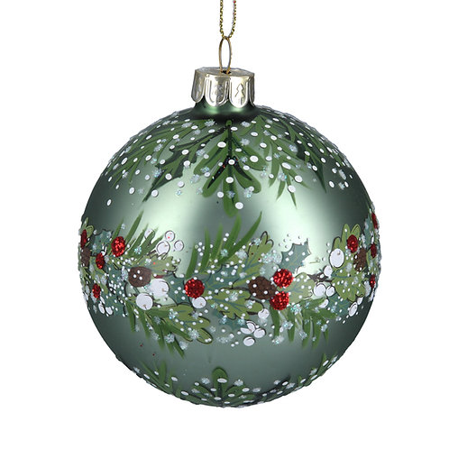 Matt Green Glass Ball With Leaf/Berry Band at the Sussex Christmas Barn