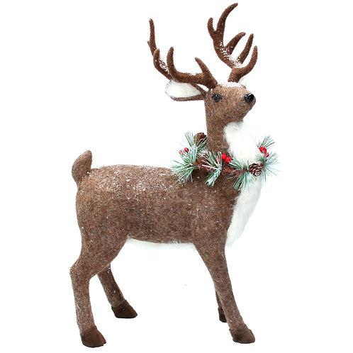 Plush Reindeer with Fir Wreath Orn