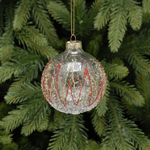Clear Glass Ball With Red and Gold Waves at The Sussex Christmas Barn
