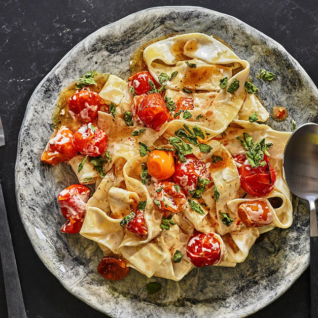 Roasted Tomato and Labaneh Pappardelle