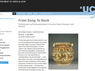 CALL. 12.02.2016: From Song To Book: Performance and Entextualisation in Ancient Greek Literature an
