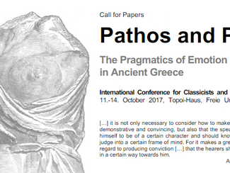Pathos and Polis. The Pragmatics of Emotion in Ancient Greece - 11-12-13-14/10/2017, Berlin (Germany