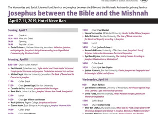 Josephus between the Bible and the Mishnah: An Interdisciplinary Seminar - 07-08-09-10-11/04/2019, N