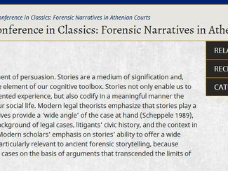 CALL. 30.11.2015: Forensic narratives in Athenian courts (9th Celtic Conference in Classics) - Dubli