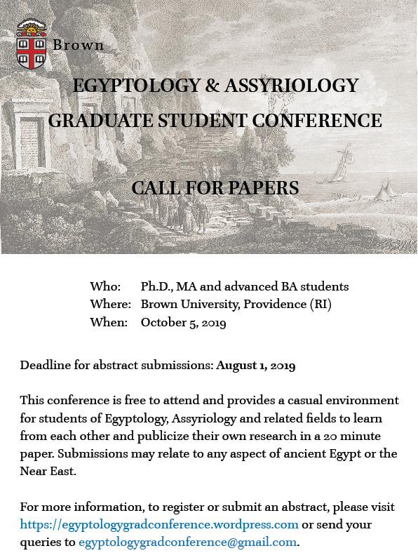 CALL  01 08 2019: Egyptology & Assyriology Graduate