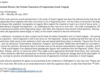 CALL. 01.11.2015: Fragmented Women: the Female Characters of Fragmentary Greek Tragedy - Nottingham