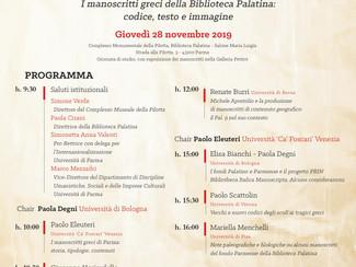 I manoscritti greci della Biblioteca Palatina: codice, testo e immagine - 28/11/2019, Parma (Italy)
