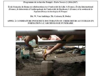 CALL. 30.05.2015: Formation à l'Archéologie Funéraire. Nécropole de Porta Nocera à Pompéi - Pompei (