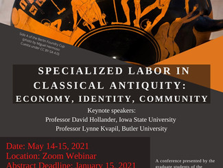 Specialized Labor in Classical Antiquity: Economy, Identity, Community- 14-15/05/2021, Online (Zoom)