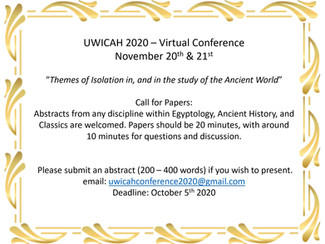 UWICAH 2020: Themes of Isolation in, and in the study of the Ancient World - 20-21/11/2020, (Online)