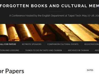 CALL. 01.02.2016: Forgotten Books and Cultural Memory Conference - Taipei (Taiwan)