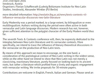 Texts & Contexts VII. The Influence of Vernacular Discourses on Neo-Latin Literature - 21-22-23/