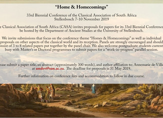 "CALL. 15.07.2019: 33rd Biennial Conference of the Classical Association of South Africa ""Home &"