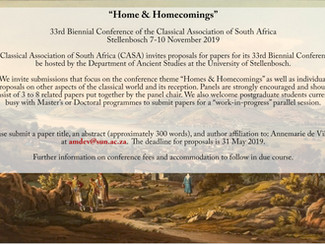 """33rd Biennial Conference of the Classical Association of South Africa """"Home & Homecomings""""- 07-0"""