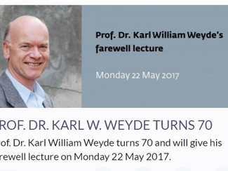 Prof. Dr. Karl William Weyde´s farewell lecture - 22/05/2017, Oslo (Norway)
