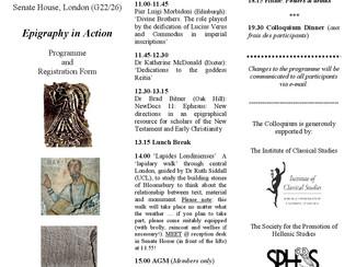 The British Epigraphy Society Autumn Colloquium 2018 - 10/11/2018, London (England)