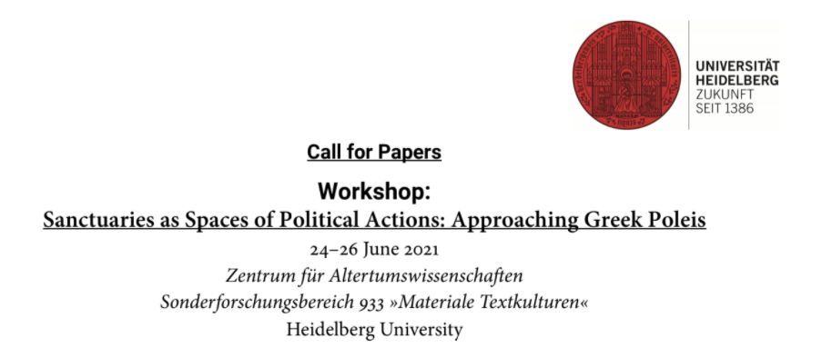 CALL. 31.01.2021: Workshop: Sanctuaries as Spaces of Political Actions... - Heidelberg (Germany)