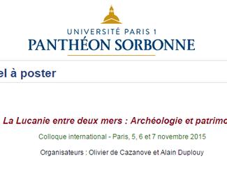 CALL. 15.06.2015: [Appel à poster] La Lucanie entre deux mers: Archéologie et patrimoine - Paris (Fr
