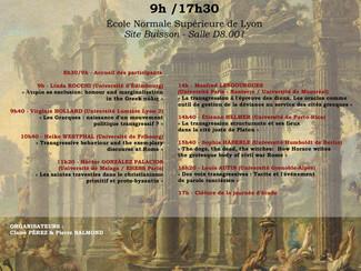 """Journée d'étude """"Déviances antiques : la cité à l'épreuve de la transgression""""  - Lyon (Fr"""