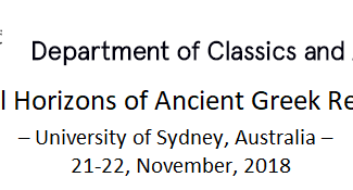 Local Horizons of Ancient Greek Religion - 21-22/11/2018, Sydney (Australia)