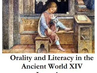 Orality and Literacy in the Ancient World - 20-21-22-23/06/2021, Jerusalem (Israel)