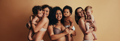 Proud mothers with postpartum bodies hol