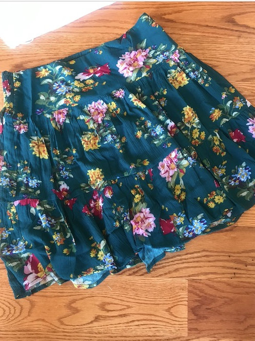 Teal green floral skirt
