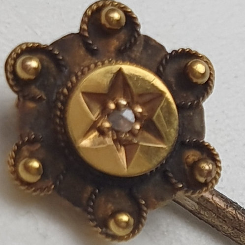Antique Victorian 15ct Gold Head Tie Pin with 0.10ct Diamond