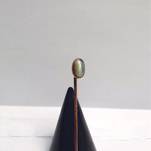 Antique Cabochon Cut Tie Pin Cat's Eye in a Rub Over Setting