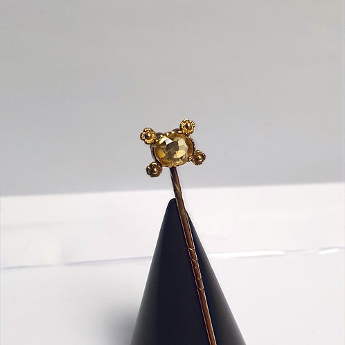 Antique Victorian 9ct Tie Pin with a Faceted Citrine