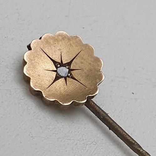 Antique Victorian Hallmarked 9ct Gold Head Tie Pin