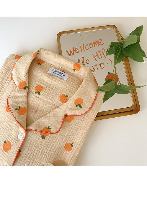 韓國Juuneedu自製♥橘子 短袖睡衣套裝(2size)