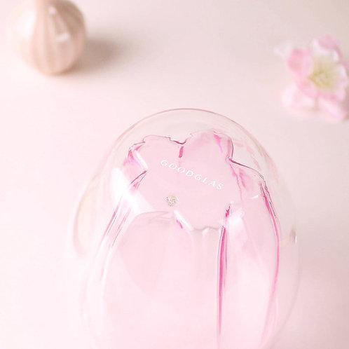 粉紅櫻花雙層玻璃杯