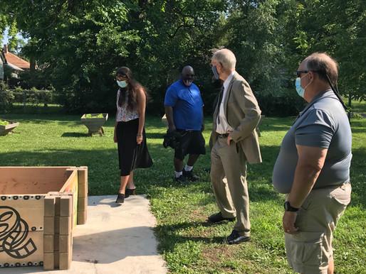 OLI Donates Painted Raised Garden Bed to the Warren Sharpe Community Center