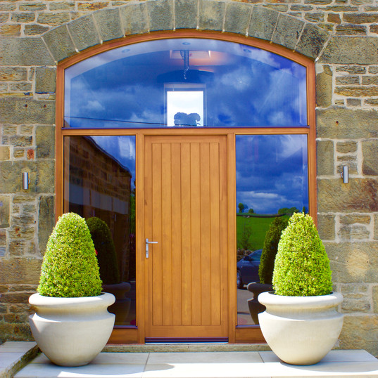 Double Board Door Set with Curved Head
