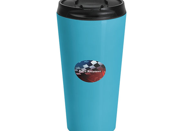Stainless Steel Travel Mug 'Auto Amateur Logo' in Blue