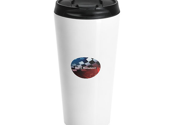 Stainless Steel Travel Mug 'Auto Amateur Logo' in White