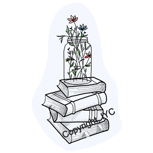 Flowers and Books Sticker