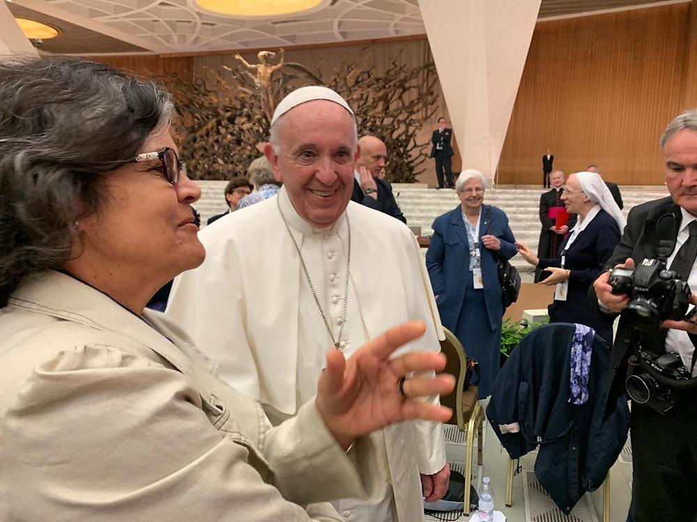 Irmã Silvânia Aparecida Pereira Coelho e o Papa Francisco