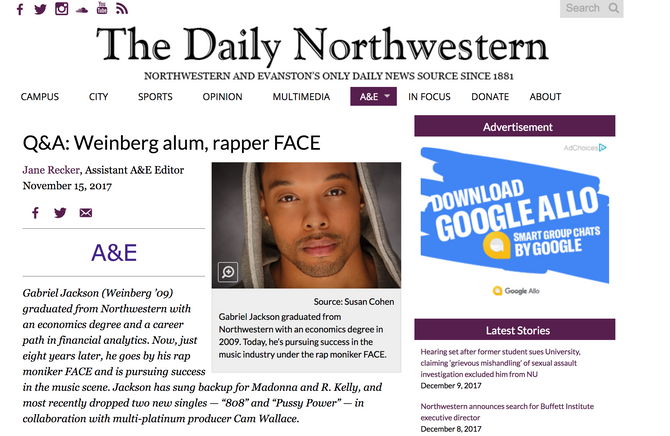 Q&A: Weinberg alum, rapper FACE