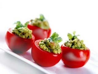 RedHOT Stuffed Guacamole Tomatoes