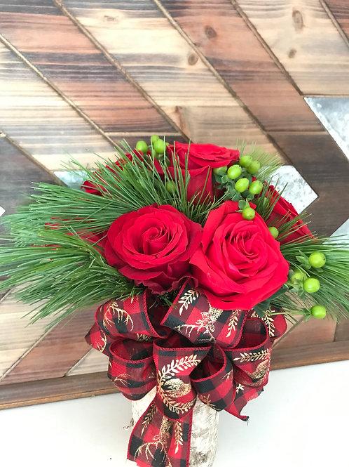10 Rose Christmas Arrangement