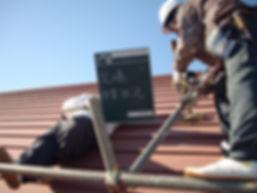 三浦市体育館屋根塗装工事 屋根上